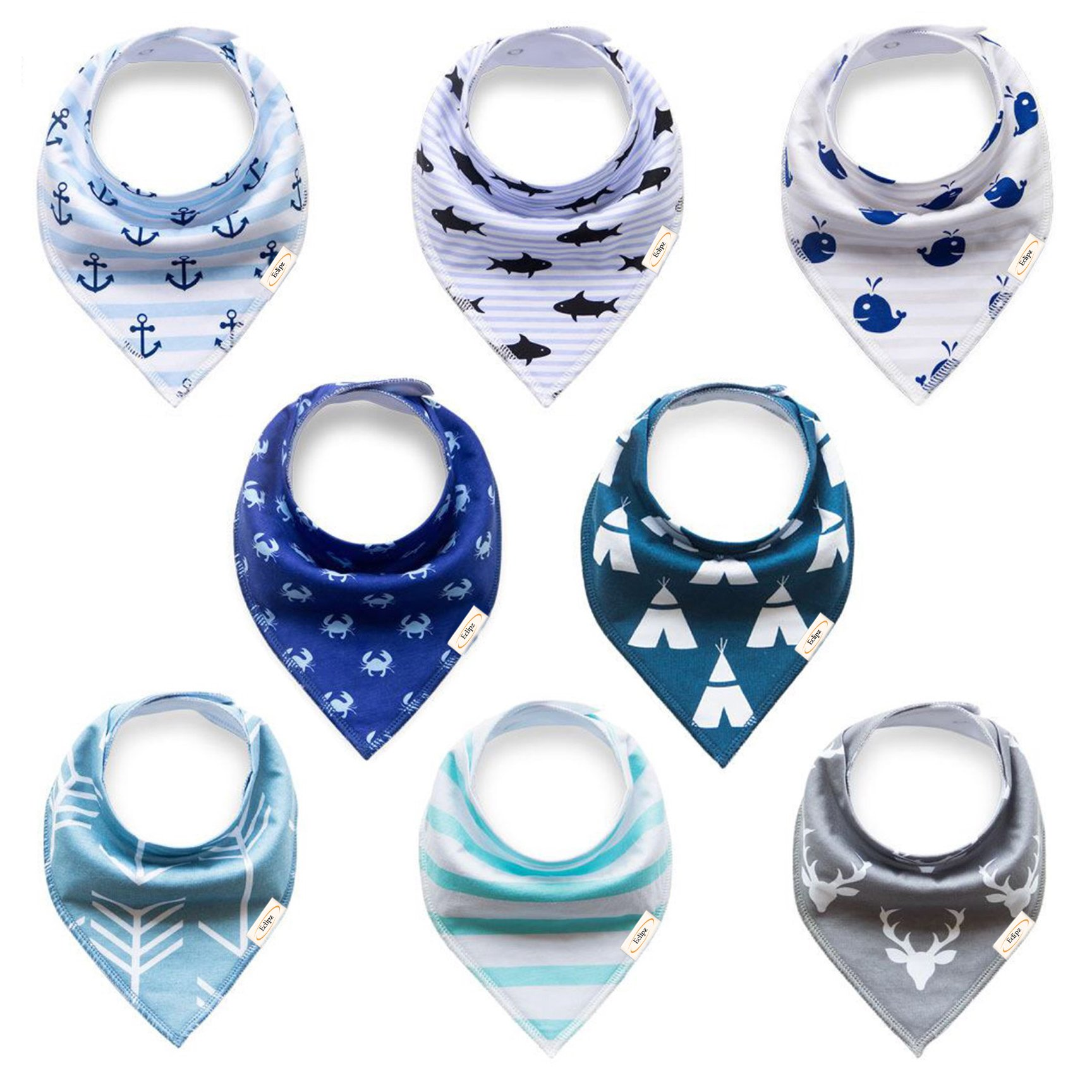Baby Bandana Drool Bibs For Boys For Drooling, Teething and Feeding, Pack of 8 - 100% Organic Cotton Toddler Bibs With Snaps Super Absorbent, Soft, & Modern Design - Unisex Baby Shower/Registry Gift
