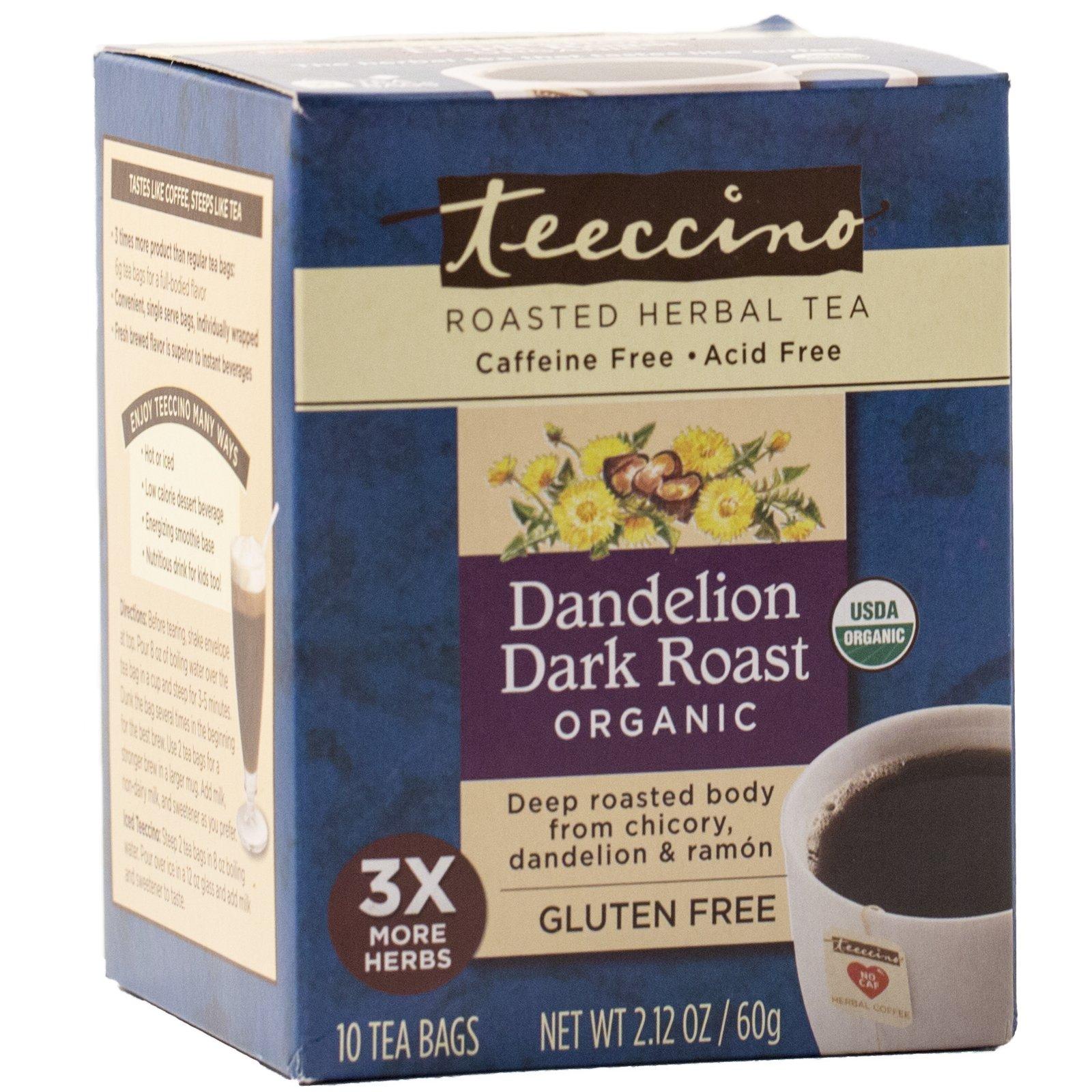 Teeccino Dandelion DETOX Tea, Organic Roasted Dandelion Root, No Gluten, No Caffeine, No Acid, 10 Tea Bags