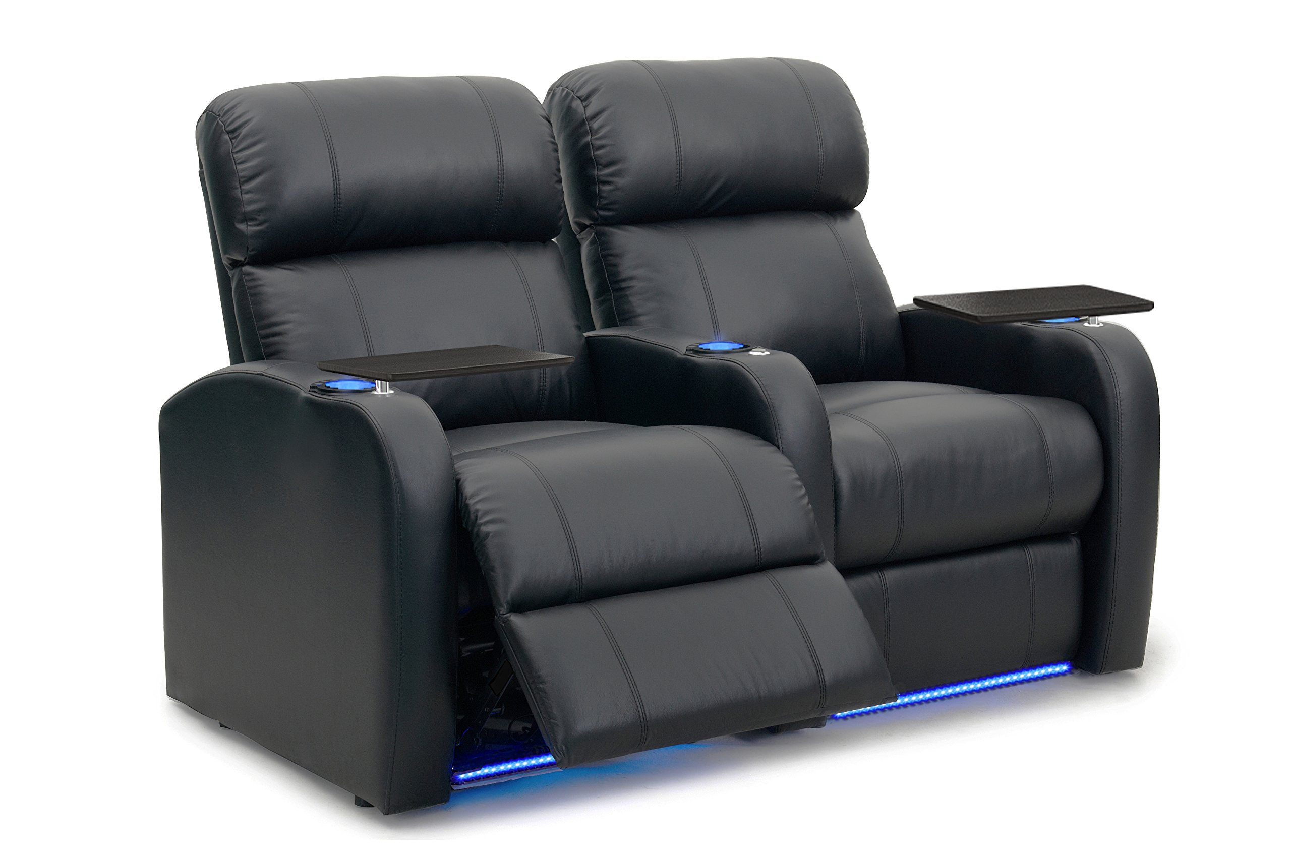 Diesel XS950 Theater Chairs - Octane Seating - Black Premium Leather - Power Recline - Memory Foam - Accessory Dock - Straight Row 2 Seats