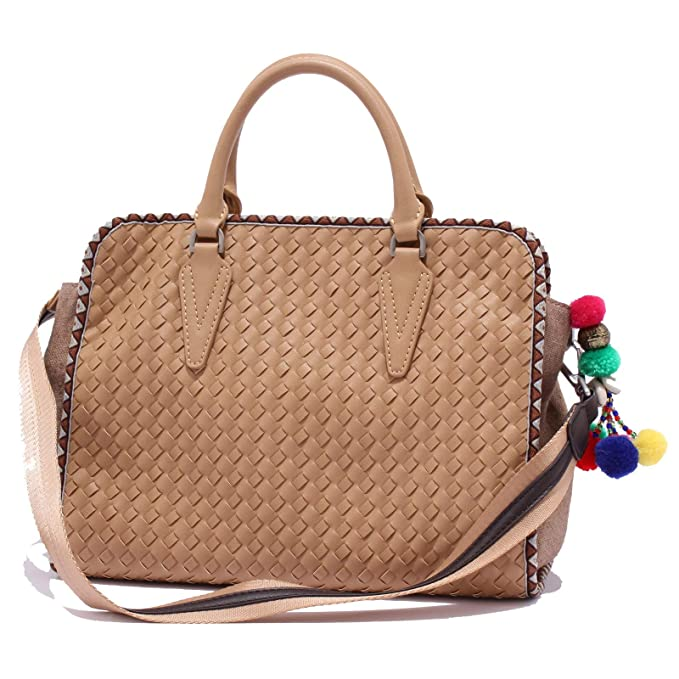 MALIPARMI 8450X borsa donna eco leather tissue light brown hand bag woman   ONE SIZE b06455720e7