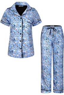 SofiePJ Womens Printed Short Sleeve Pure Cotton Button-Down PJ and Long Pants Set