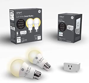 C by GE Smart Bundle Pack with 2 Smart Bulb and Smart Plug (2 LED A19 Soft White Bulbs + On/Off Smart Plug), Works with Alexa and Google Assistant, WiFi Enabled