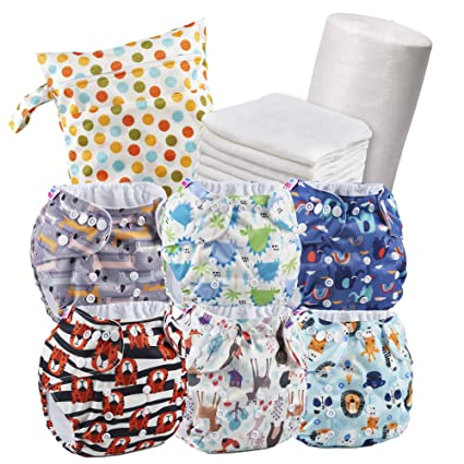 Set of 6 Reusable Nappies - Washable Cloth Nappies + 6 Bamboo Nappy Liners + 1 Roll of 100 Washable Nappies Cloths + Wet Bag - Reusable Nappies - 100 % Eco-Friendly Nappies