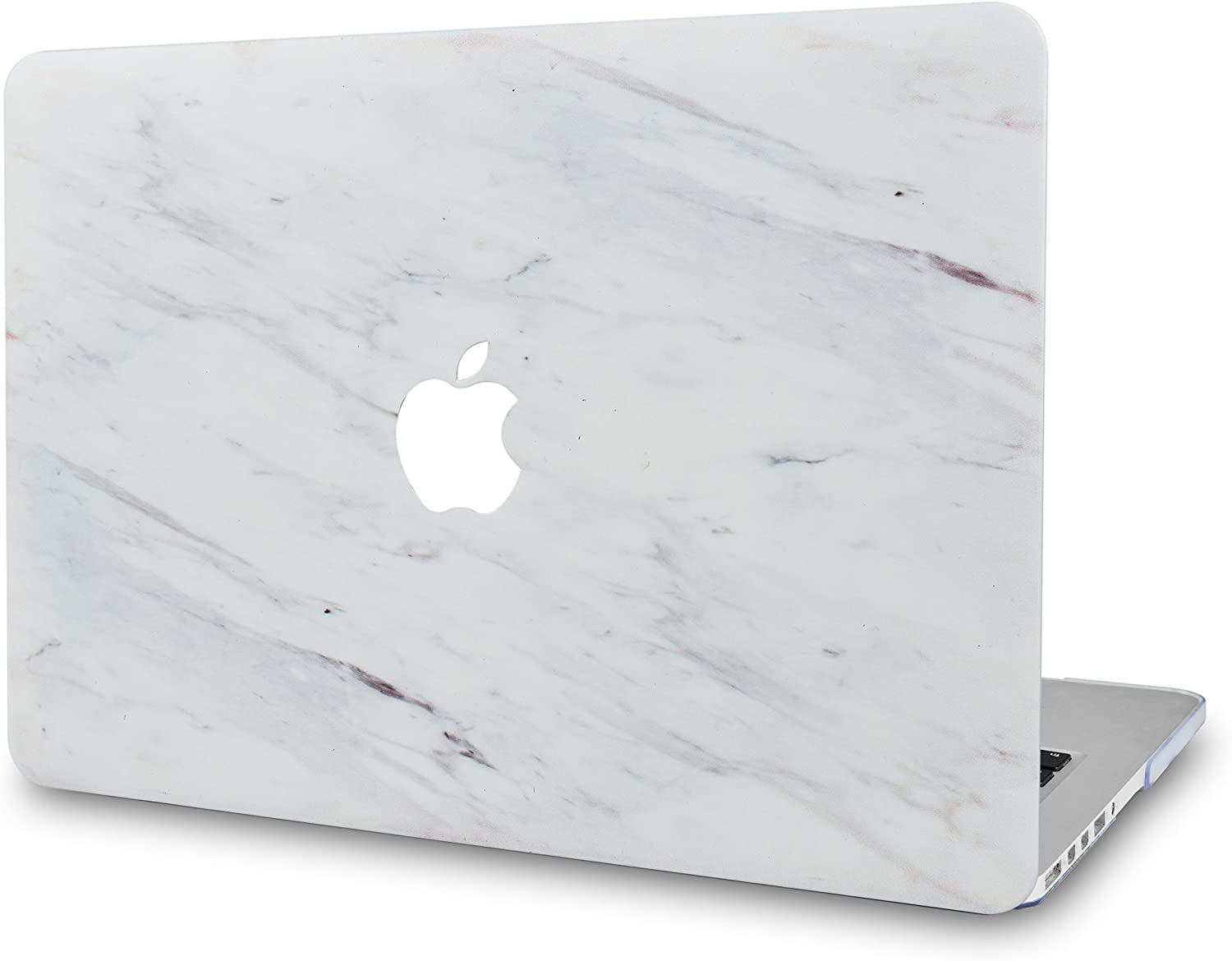 LuvCase Laptop Case for MacBook Air 13 Inch (2020/2019/2018) A2179/A1932 Retina Display (Touch ID) Rubberized Plastic Hard Shell Cover (Silk White Marble)