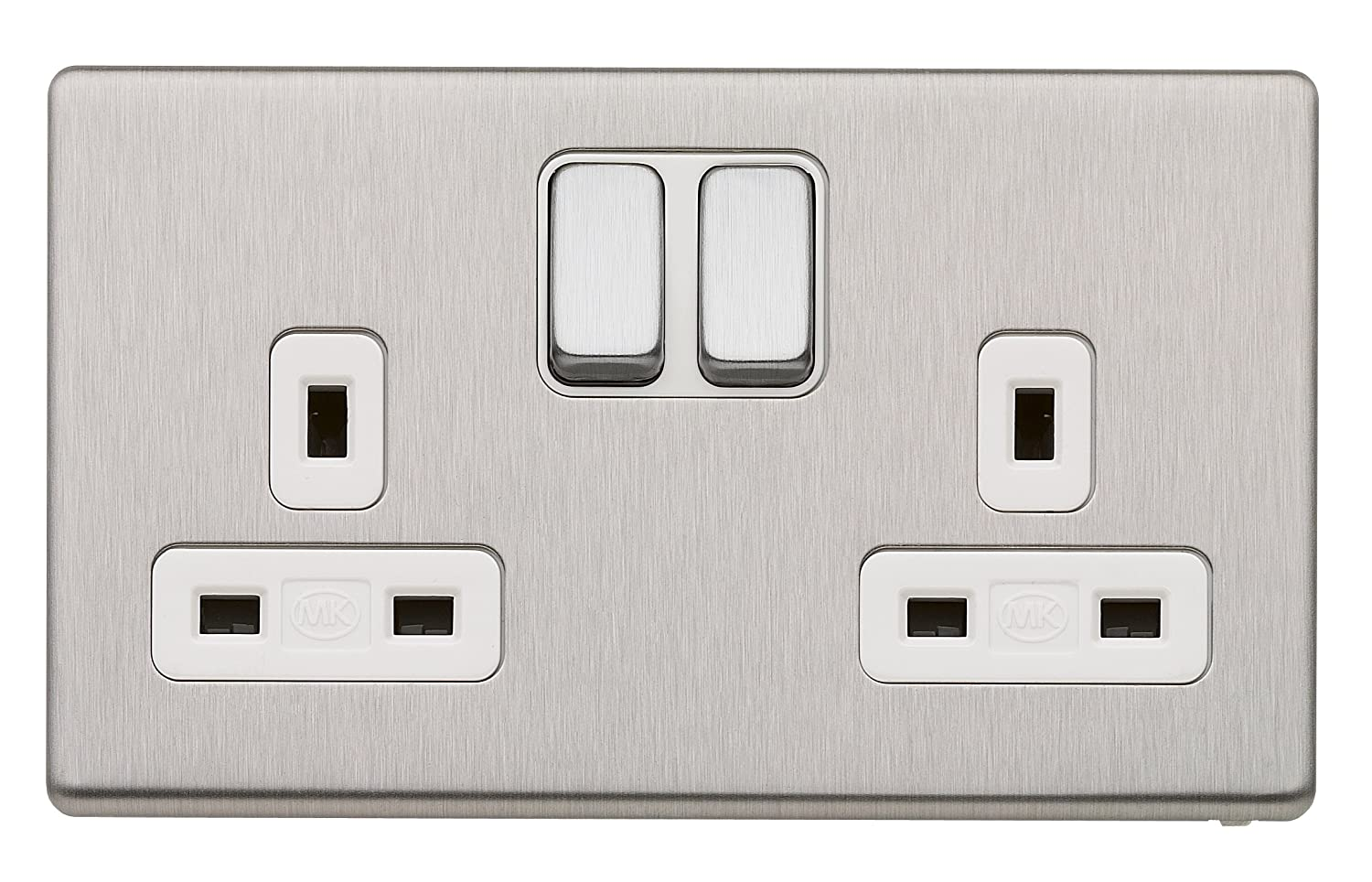 MK Aspect K24347 BSS B 13A Dual Earth Double Switched Socket 2-Gang ...