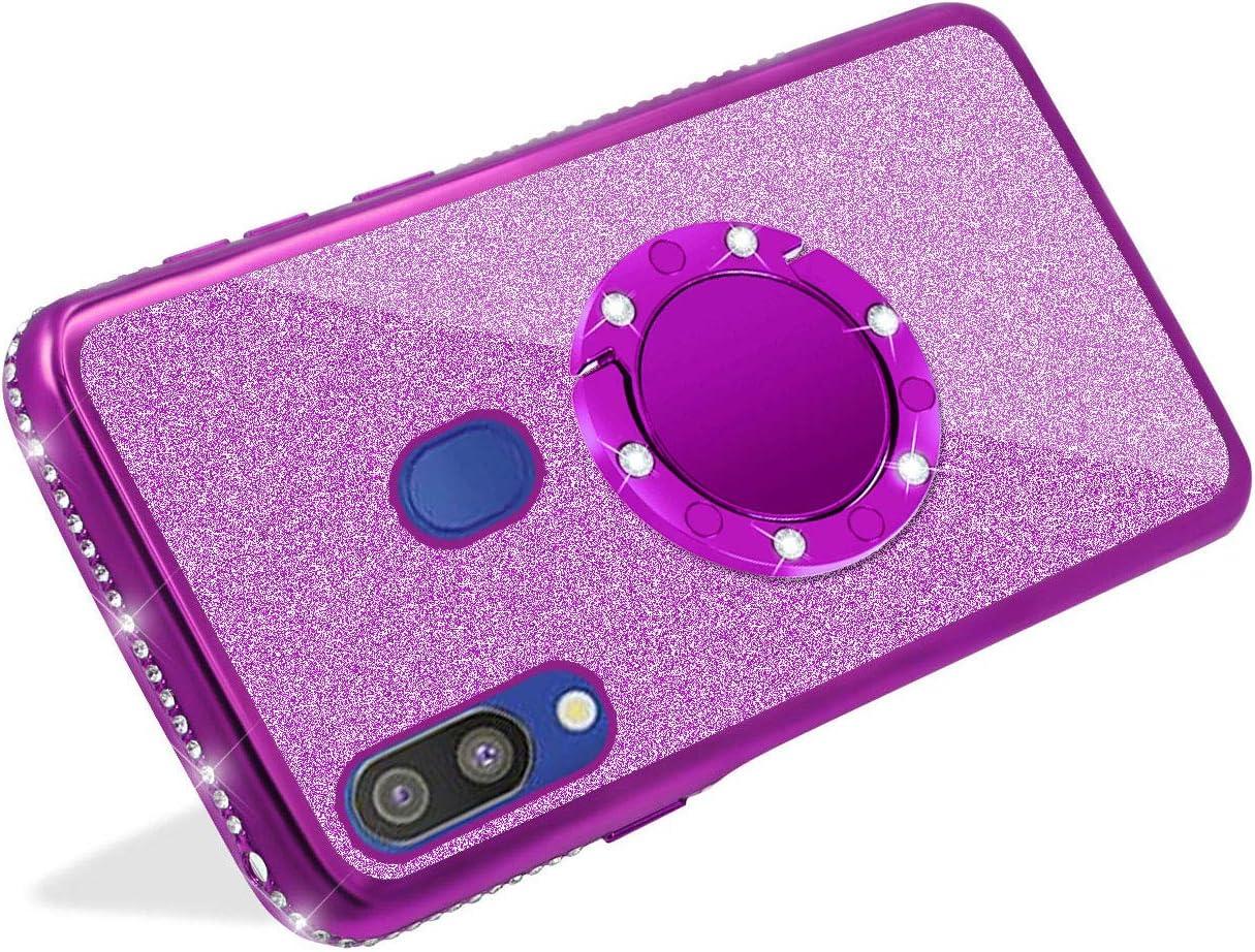 YiCTe Glitter Coque pour Samsung Galaxy A70,Brillante Diamant Bling Paillette Strass avec 360 Degr/és Anneau B/équille Stand Housse Placage Tr/ès Mince TPU Silicone Coque,Violet
