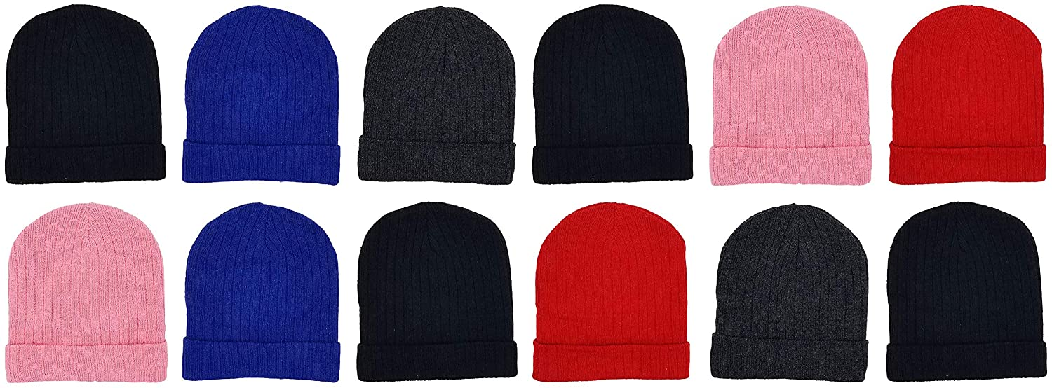 12 Pack Winter Beanies, Kids, Warm Cold Weather Hats Cuffed Skull Cap Boys Girls Children (Assorted Ribbed)