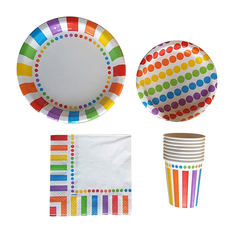 Amazon.com : Rainbow Straws, Paper Birthday Party Straws (25 Pack ...