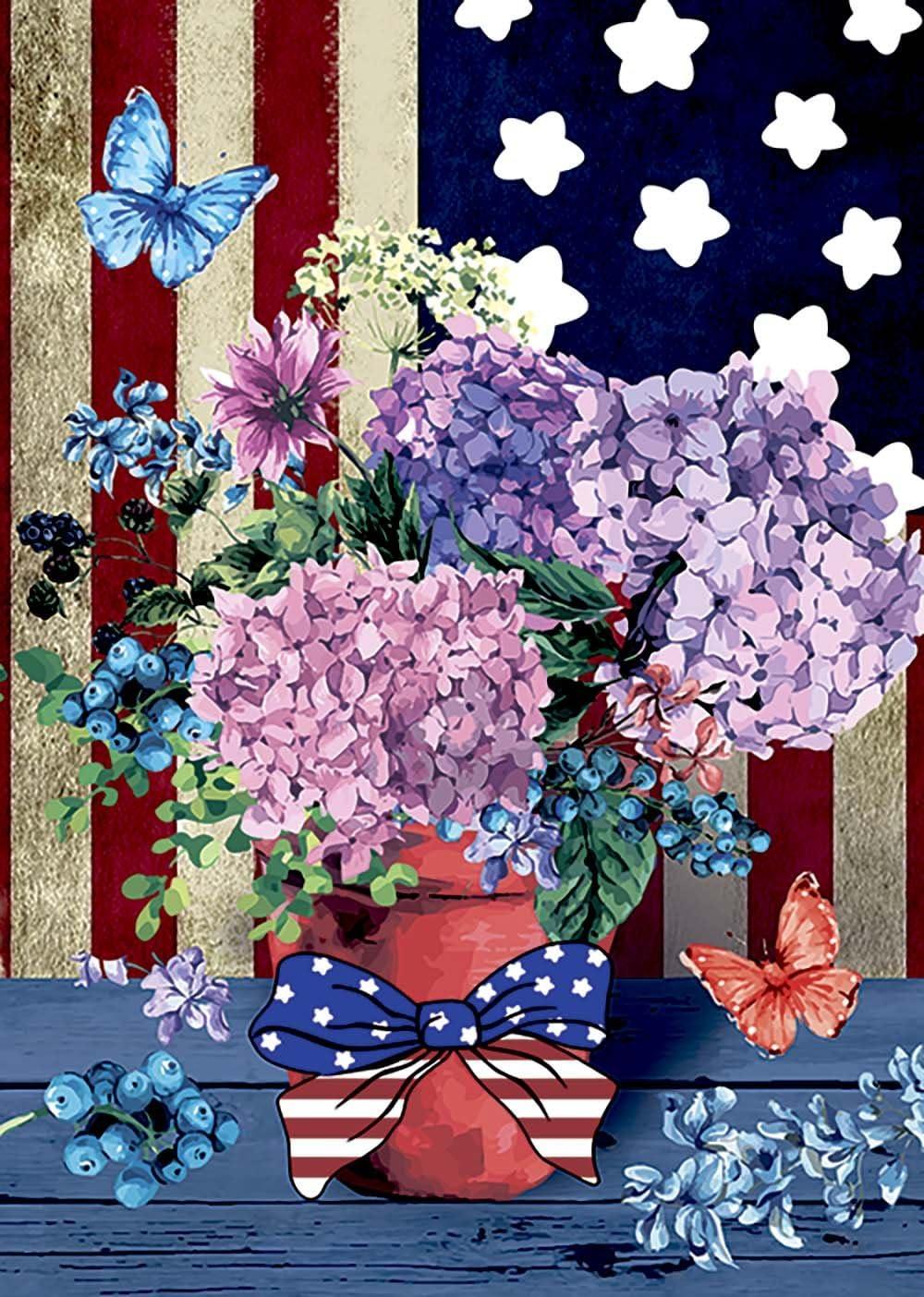 Morigins Patriotic Pansies 28 x 40 Inch Decorative Floral America Summer House Flag