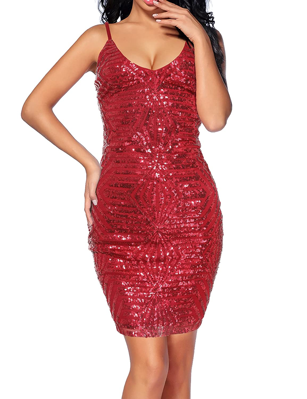 Madam Uniq Women's Sequin Dress Strap Deep V Neck Cocktail Dresses Club