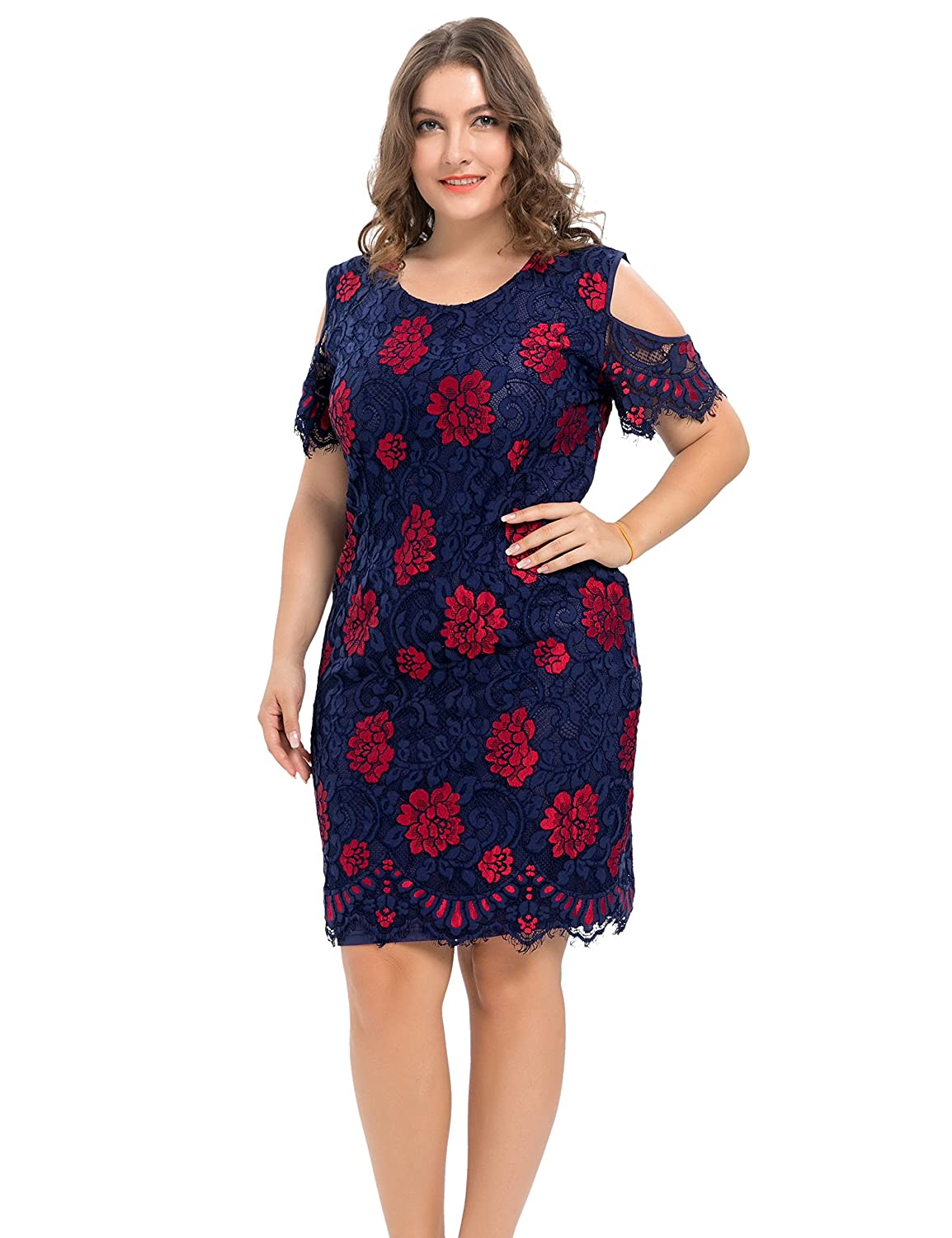 Chicwe Women s Plus Size Lined Floral Printed Off Shoulder Lace Dress -  Knee Length Casual Party Cocktail Dress at Amazon Women s Clothing store  777422158