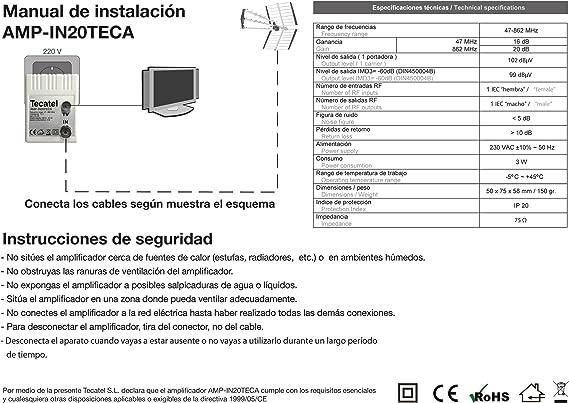 Tecatel - Amplificador interior Tecatel 20dB, 95dBuV: Amazon ...