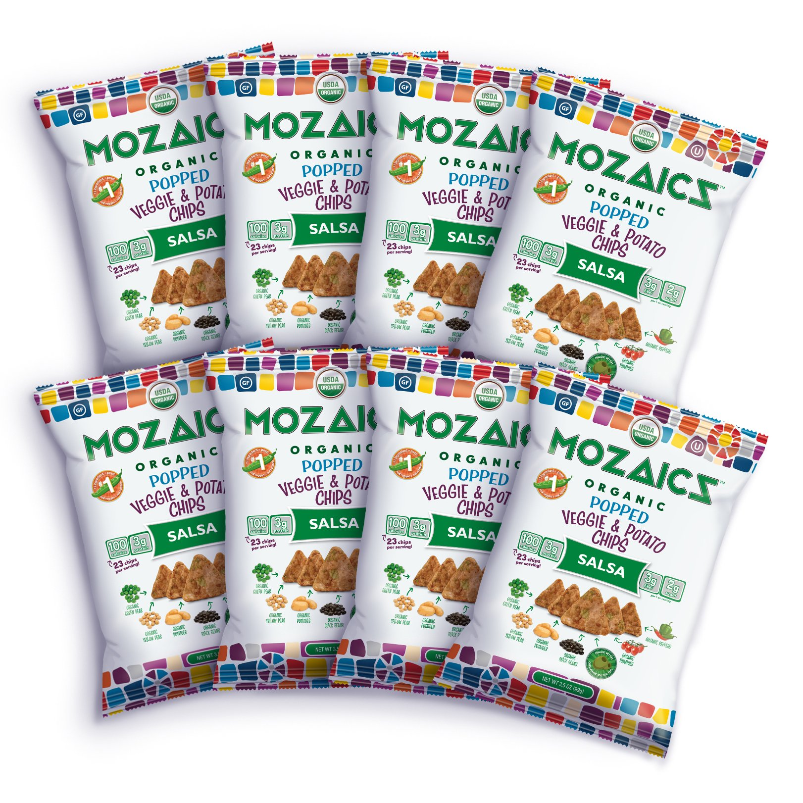 Mozaics Salsa Organic Popped Veggie Chips- Under 100 Calories, Gluten Free Healthy Snack - Healthier than veggie straws or stix - 3.5oz big bags (Salsa, 8-count) by Mozaics