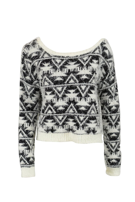 Bar III Womens Geometric Eyelash Long Sleeve Sweater