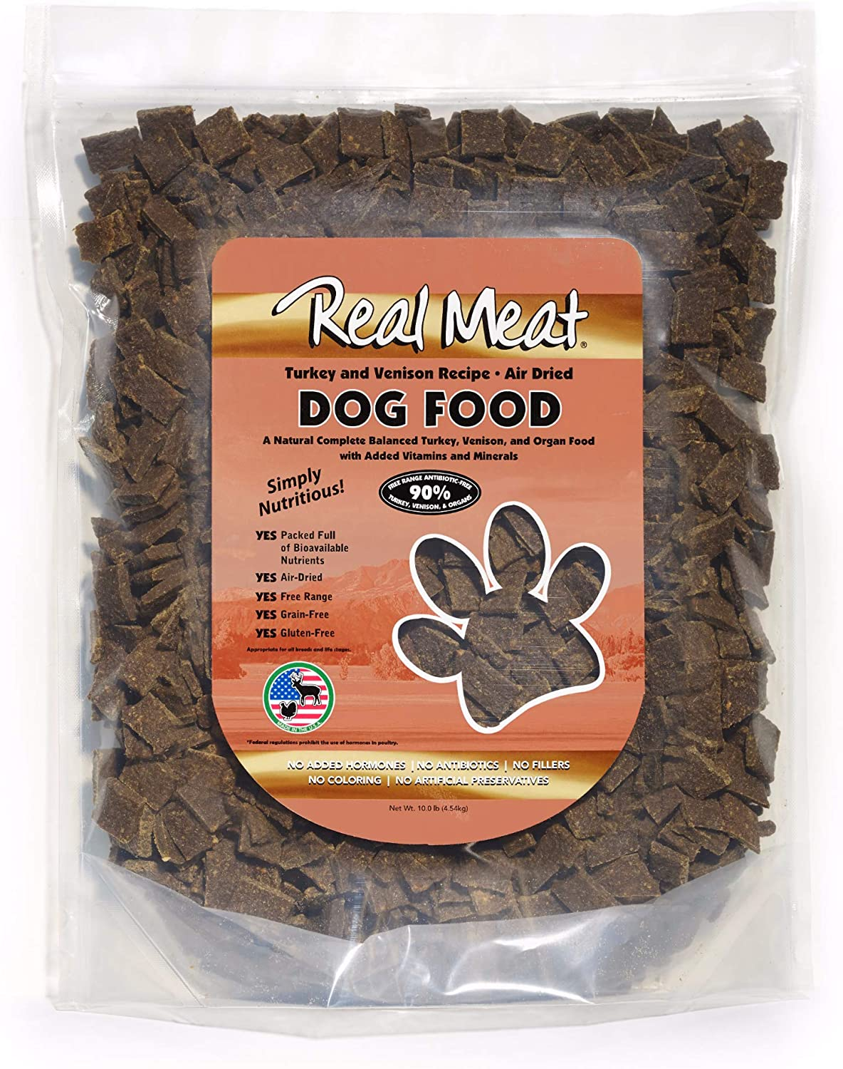 Real Meat 10lb Air-Dried Dog Food, Turkey & Venison