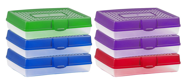 Storex Large Pencil Box Case, Plastic School Supply Storage Organizer, Assorted Colors, 7.75 x 2.9 x 11.25 Inches, 6-Pack (61645U06C) 6-Pack (61645U06C) Storex Industries Corp.
