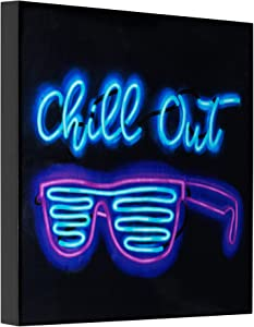 Chill Out Sunglasses Neon Laquered Boxtop Wall Decor Sign Art, 15