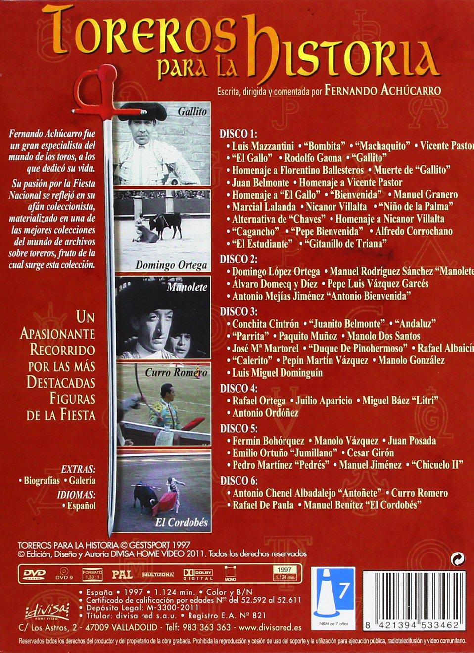 Amazon.com: Toreros Para La Historia (6 Dvd) [DVD] (2011) Fernando Achucarro: Movies & TV