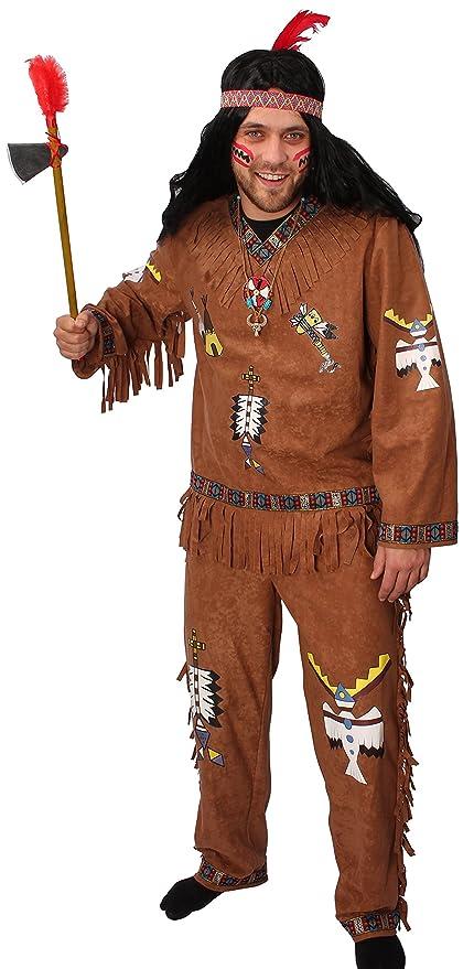 Herren Kostüm Jacke Hose INDIANER 3 tlg Stirnband Karneval Fasching