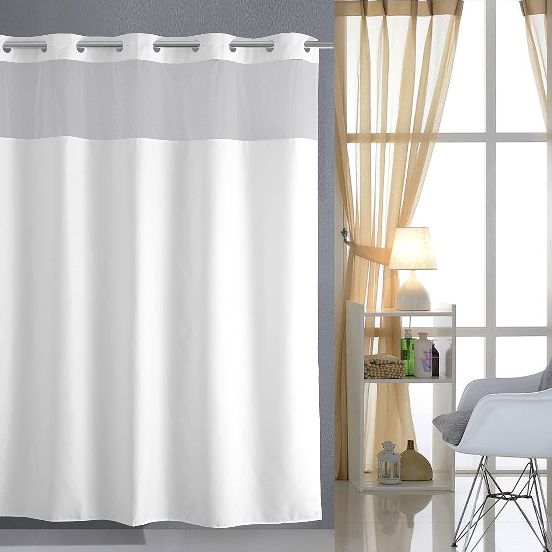 Amazon Luunaa Sheer Shower Curtain Waterproof Mildew Resistant 72 X 80 Inch Hookless White Home Kitchen