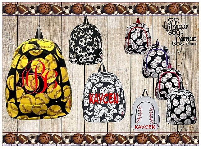 e05928015f0e Amazon.com  FREE Personalization Monogram ~ Sports bag Large Back Pack ~  Book Bag ~ School Tote ~ Volleyball ~ Softball ~ Soccer ~ Baseball ~  Soccer  ...