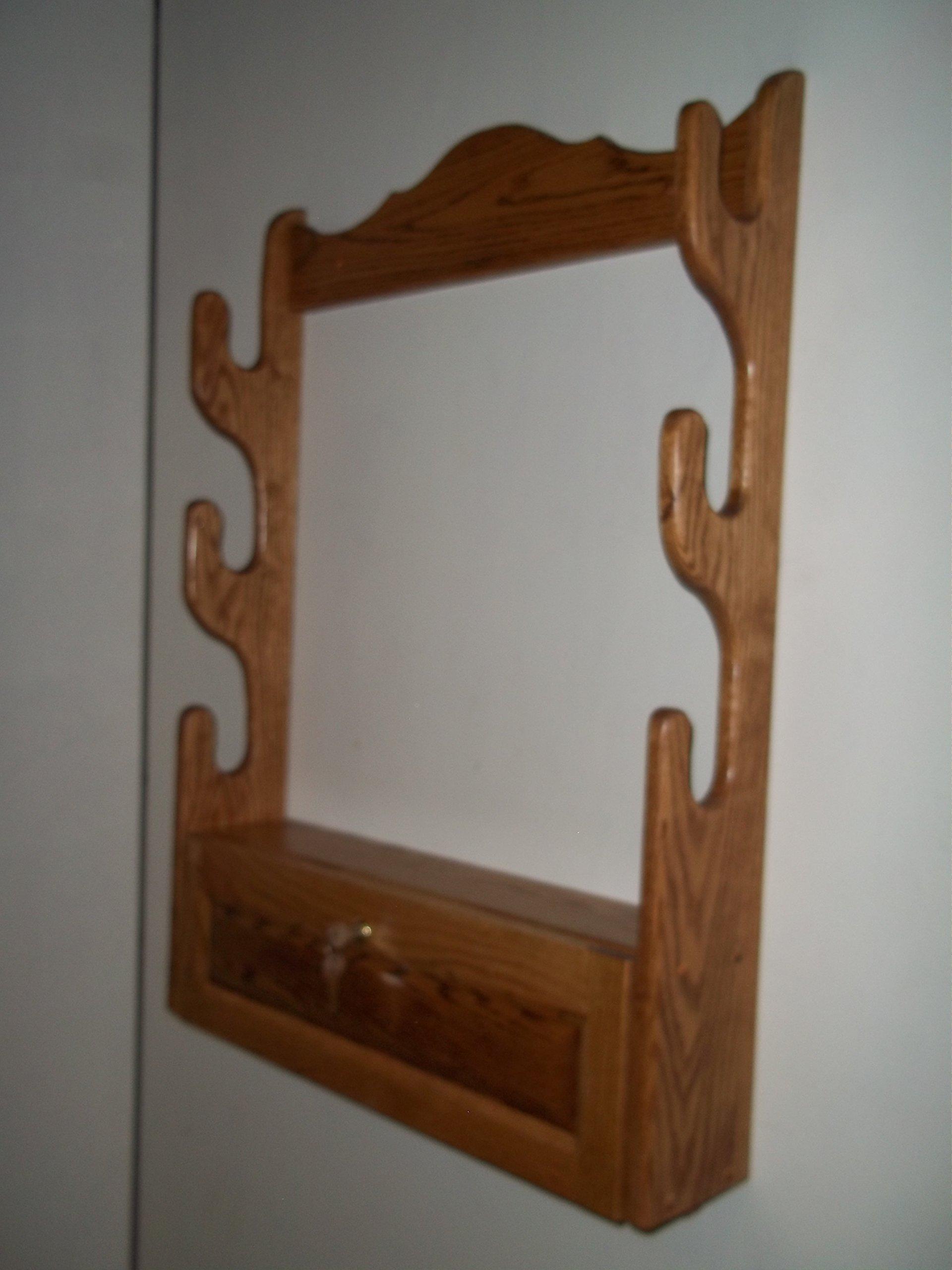 3 Gun Rack with Locking Storage Compartment ~ Golden Oak Finish
