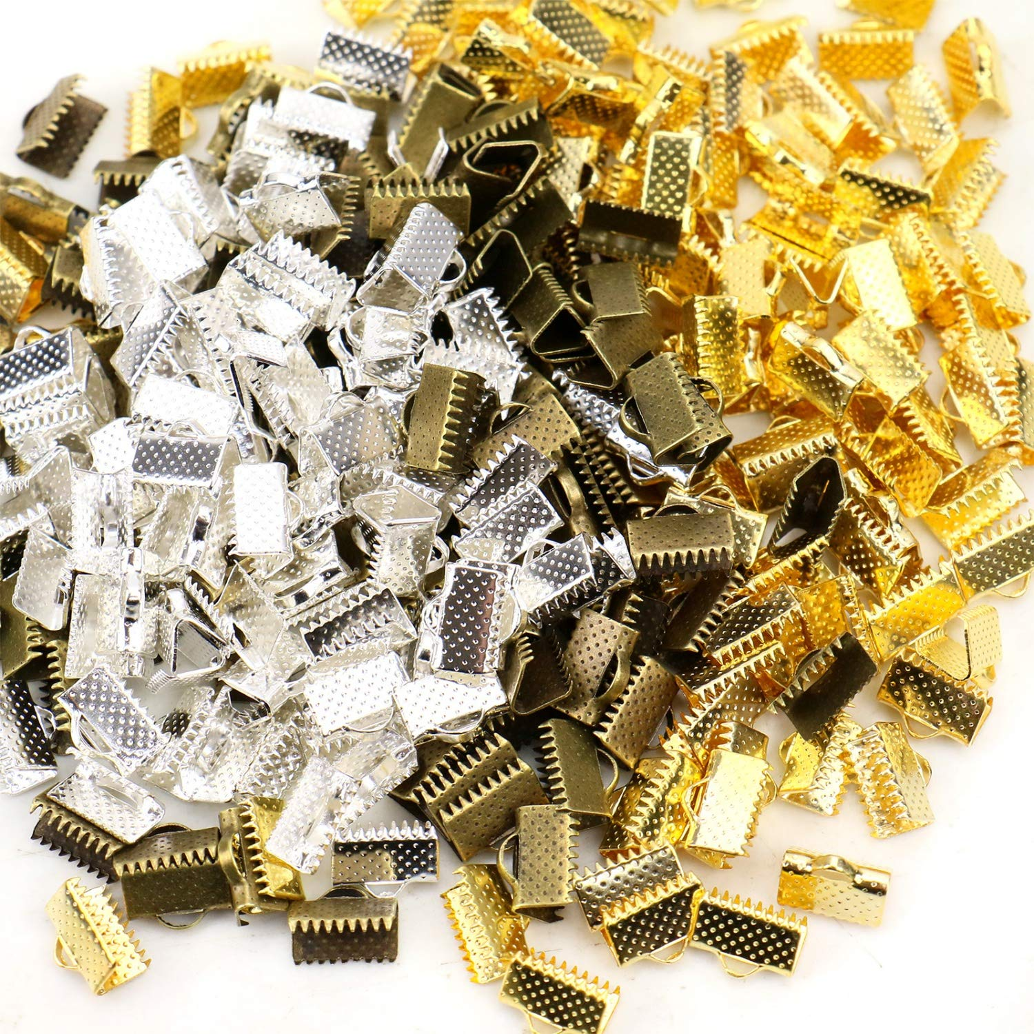 10mm JETEHO 300Pcs Ribbon Clamp Crimps Pinch Crimps End Beads Clasps Hook Tips Connectors DIY Craft Jewelry Making Findings