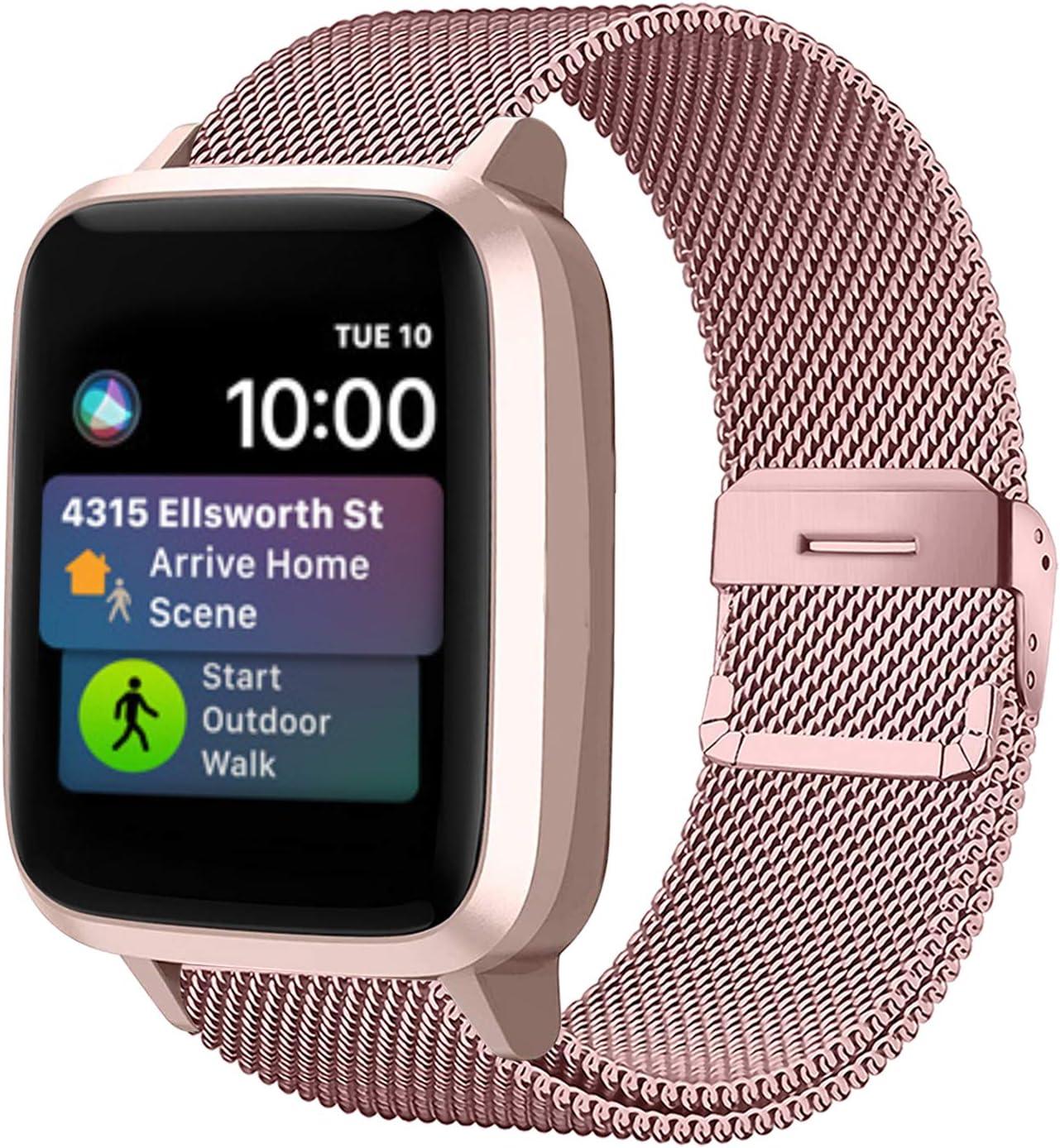 Funbiz Metal Correa Compatible con Apple Watch 38mm 40mm 42mm 44mm, Pulsera de Repuesto de Acero Inoxidable para iWatch Series SE 6 5 4 3 2 1, 38mm/40mm-Oro Rosa