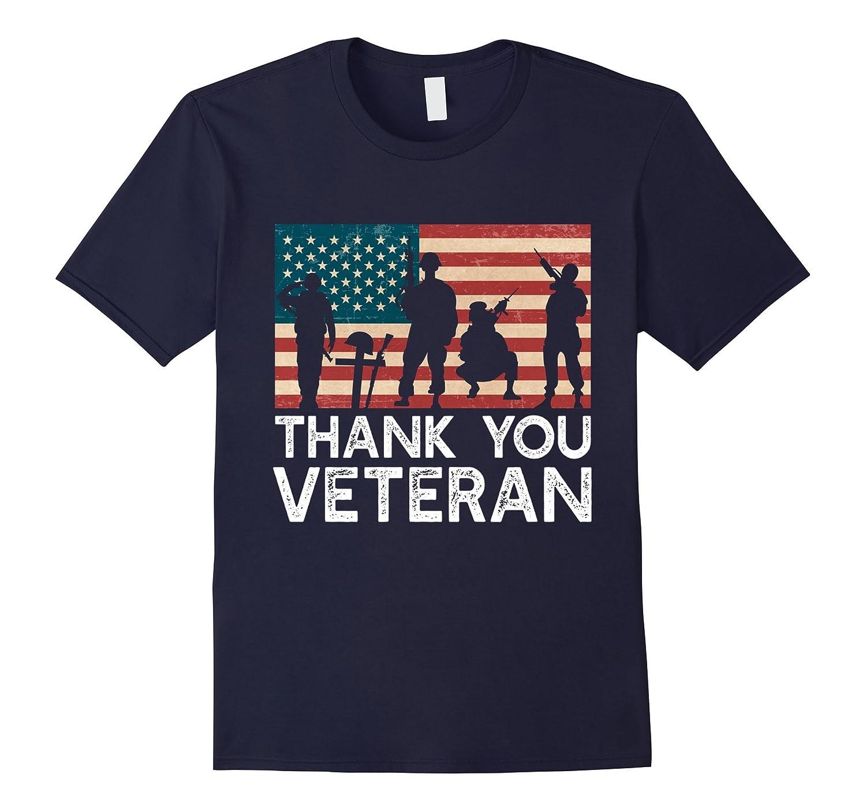 USA American flag Vintage Thank You Veteran Patriotic TShirt-FL