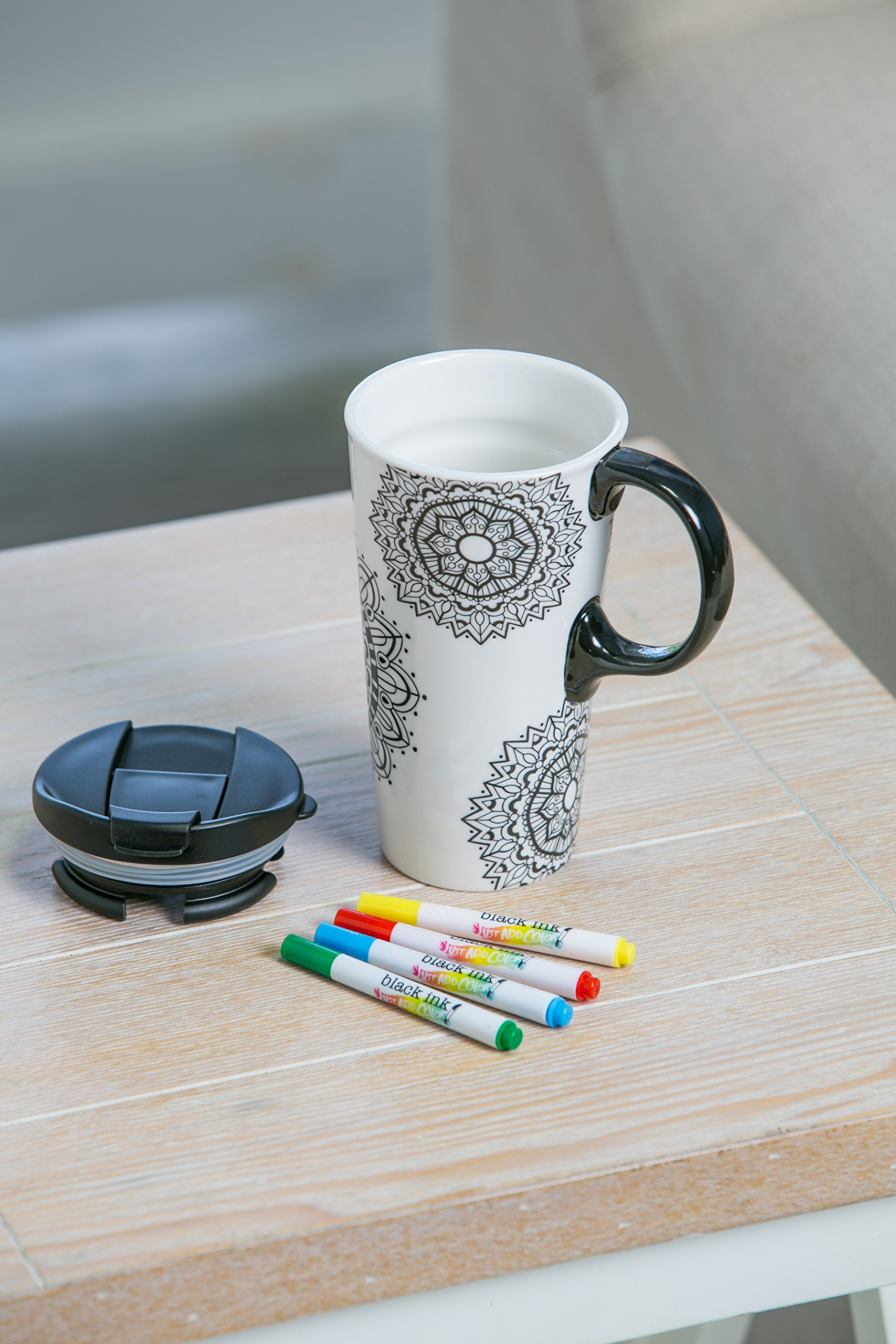 "Cypress Home Just Add Color Mandala Mania 17 oz Boxed Ceramic Perfect Travel Coffee Mug or Tea Cup with Lid - Includes 4 Food-Safe Markers - 3""W x 5.25''D x 7''H"