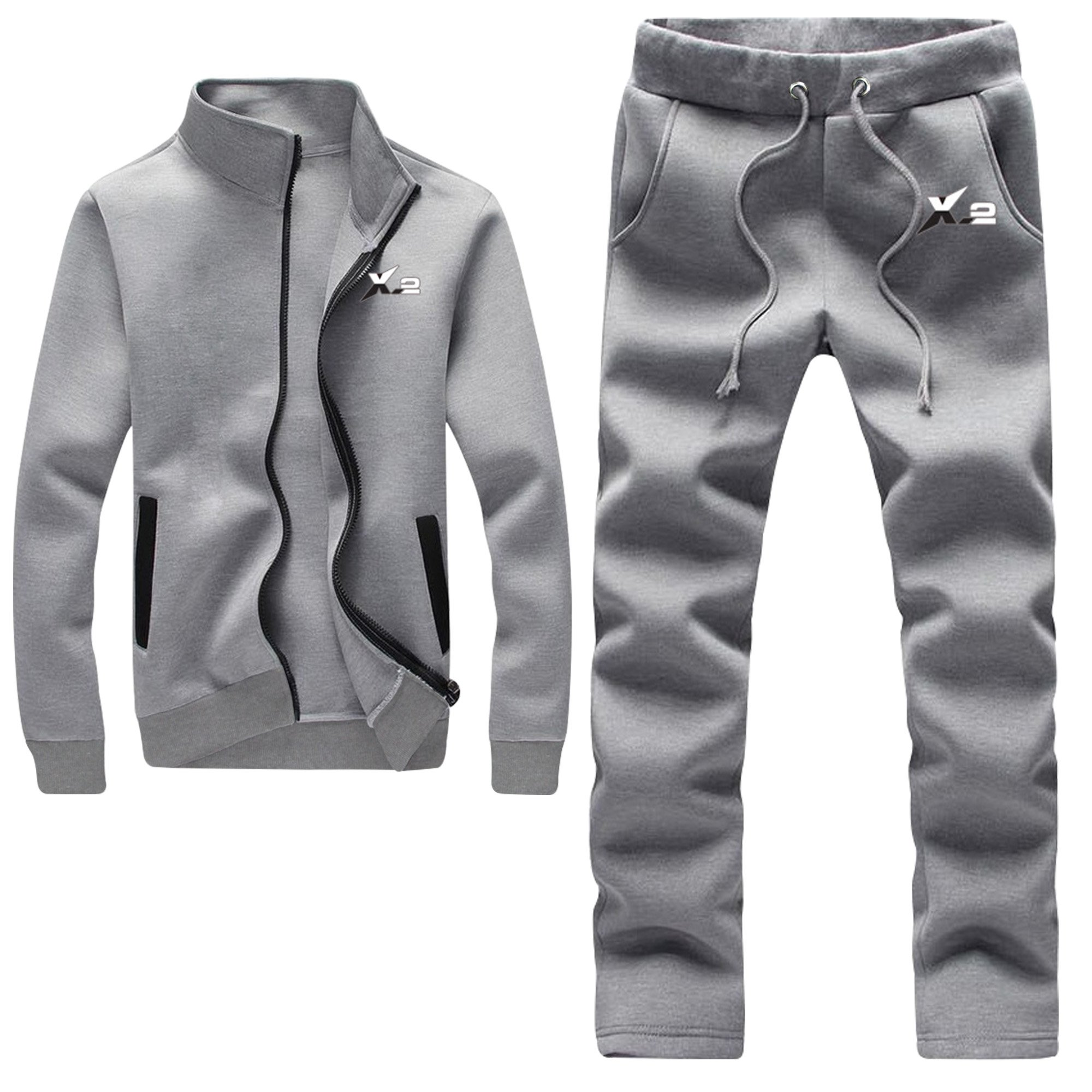 X-2 Athletic Full Zip Fleece Tracksuit Jogging Sweatsuit Activewear Gray XL by X-2