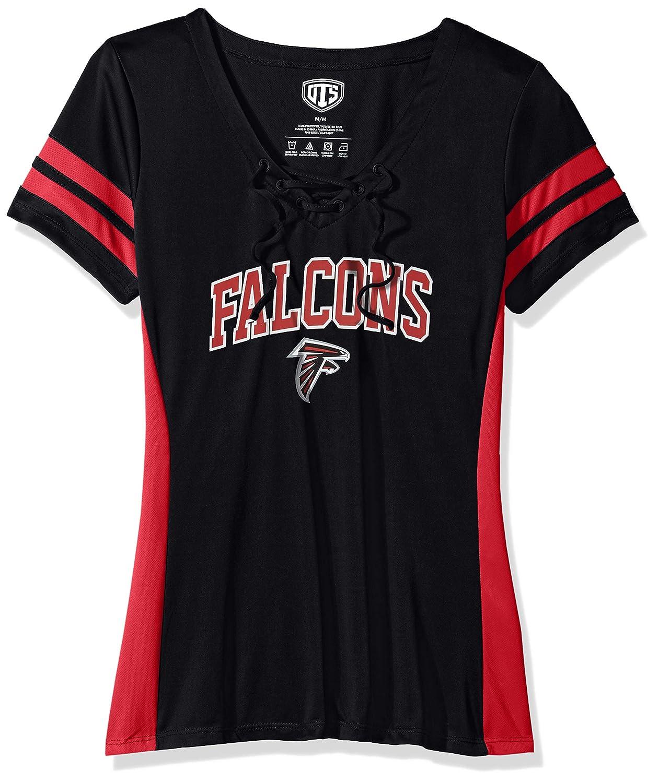 NFL Womens Atlanta Falcons OTS Poly Lace Up V-Neck Tee Weber X-Large