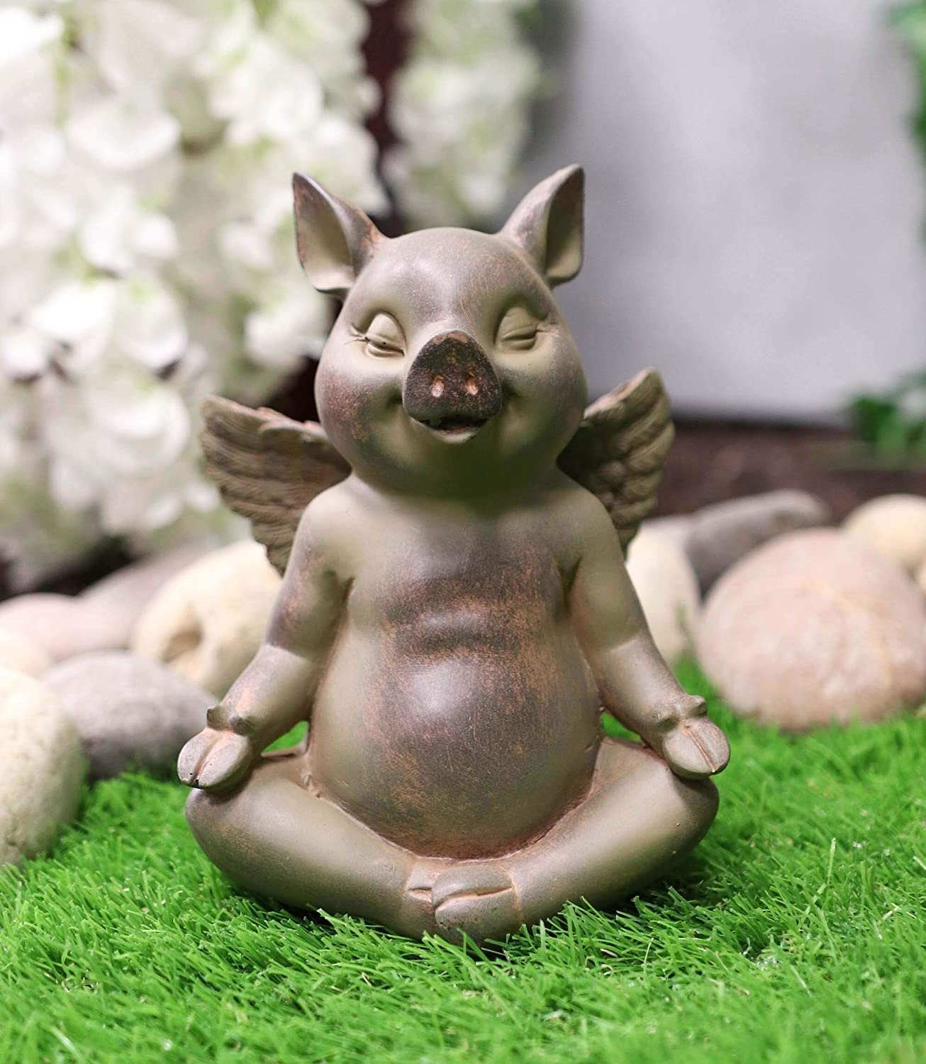 Ebros Peaceful Zen Yoga Flying Pig Hog Heavens Statue Rustic Country Piggy Piglet Porcine Pigs Fairy Garden Collectible Figurine (Padme Lotus Meditation Pose)