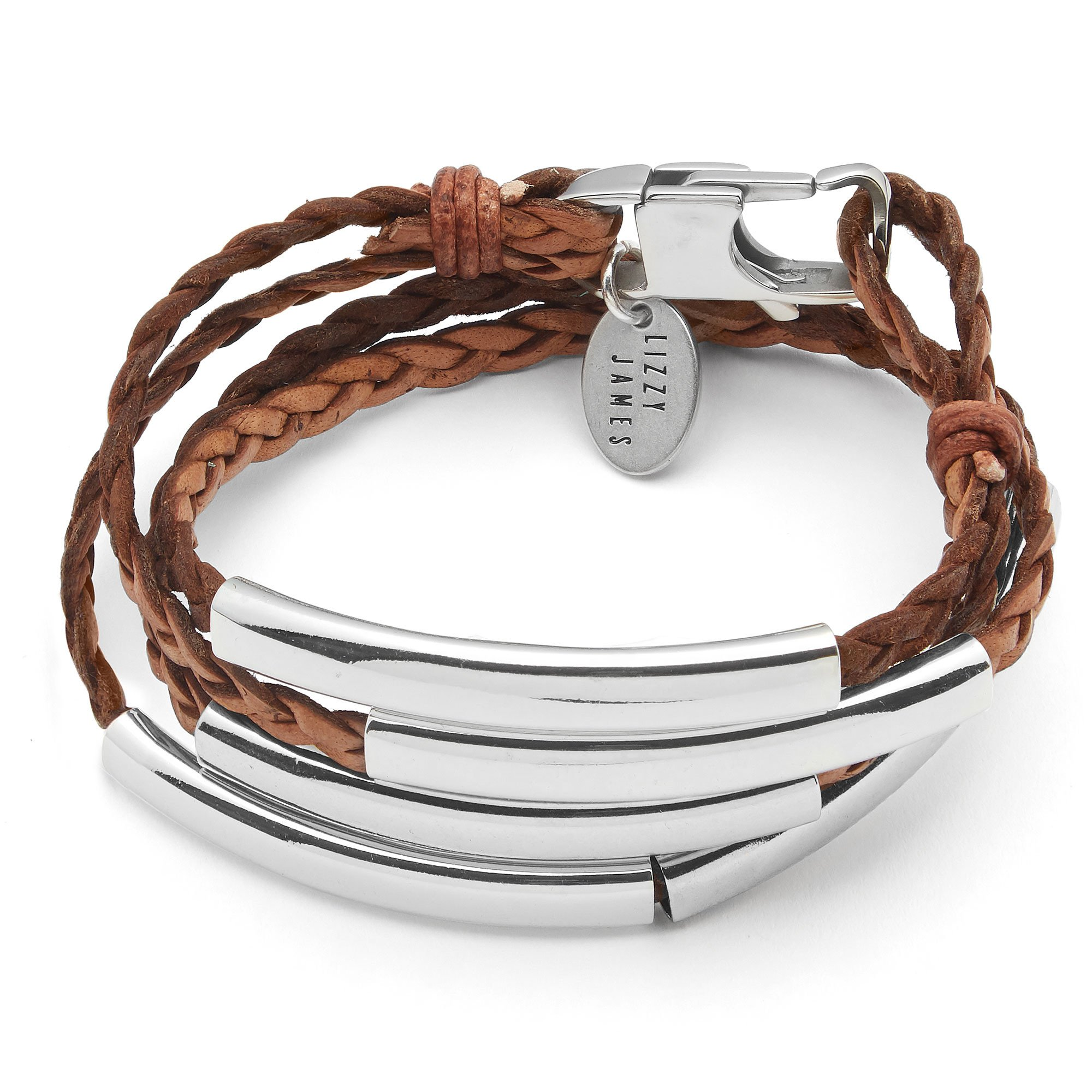 Lizzy James Mini Addison Braided Leather Wrap Bracelet with Silverplate Crescents in Natural Antique Brown Leather (XXLarge)