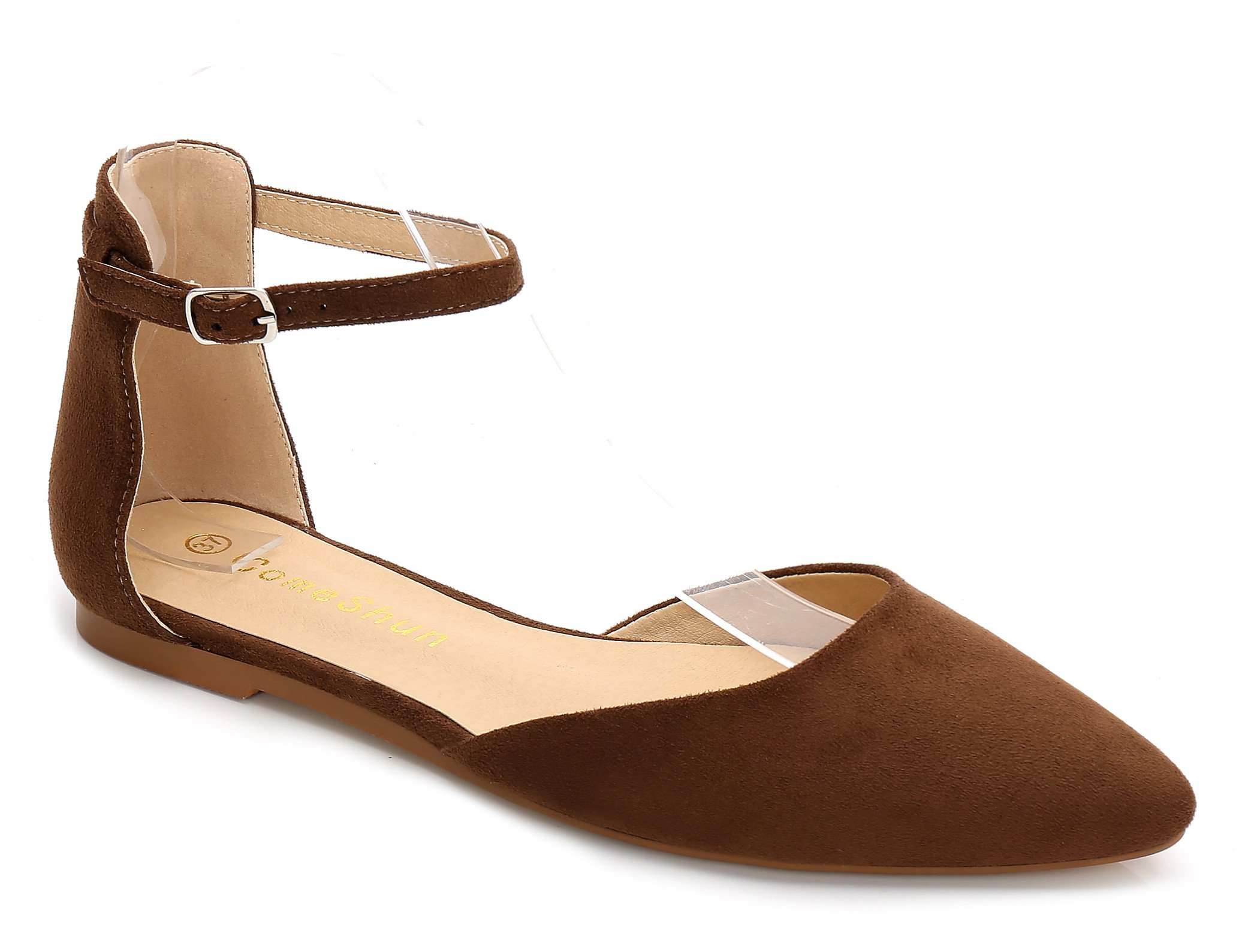 ComeShun Brown Womens Comfort D'Orsay Adjustable Buckle Slip On Flats Dress Pumps Shoes Size 10