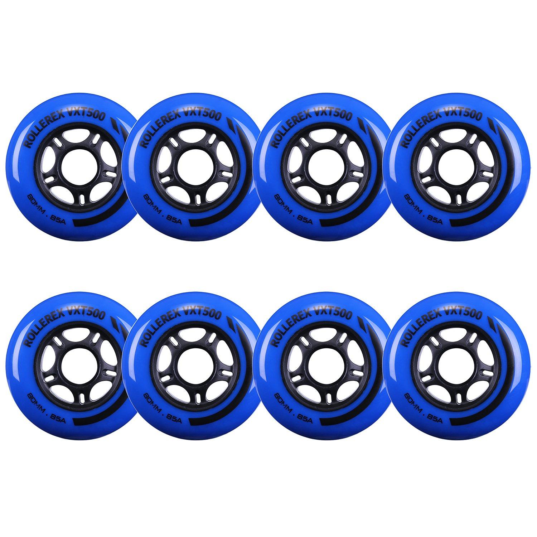 Rollerex VXT500 Inline Skate Wheels (8-Pack) (Deep Sea Blue, 72mm) by Rollerex