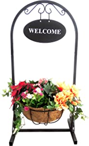 Arcadia Garden Products CB50 18 in. x 12 in. x 36 in. Coconut Metal Welcome Basket, Black
