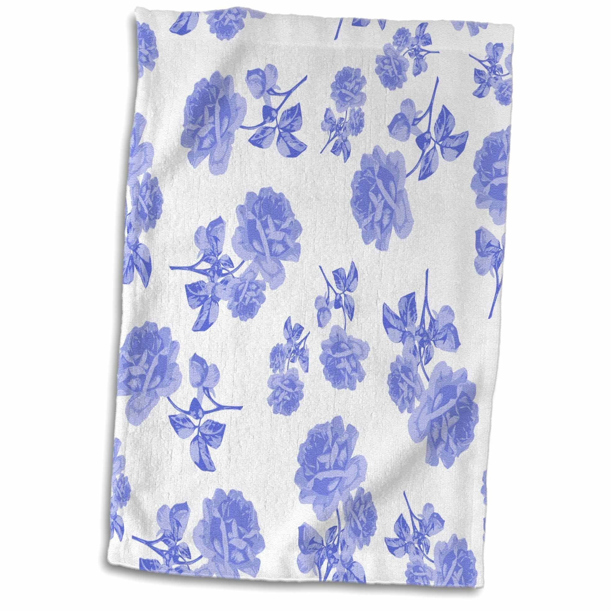 3D Rose Blue and White Flower Pattern Inspired by Oriental Porcelain and Delft twl_183969_1 Towel, 15'' x 22'', Multicolor