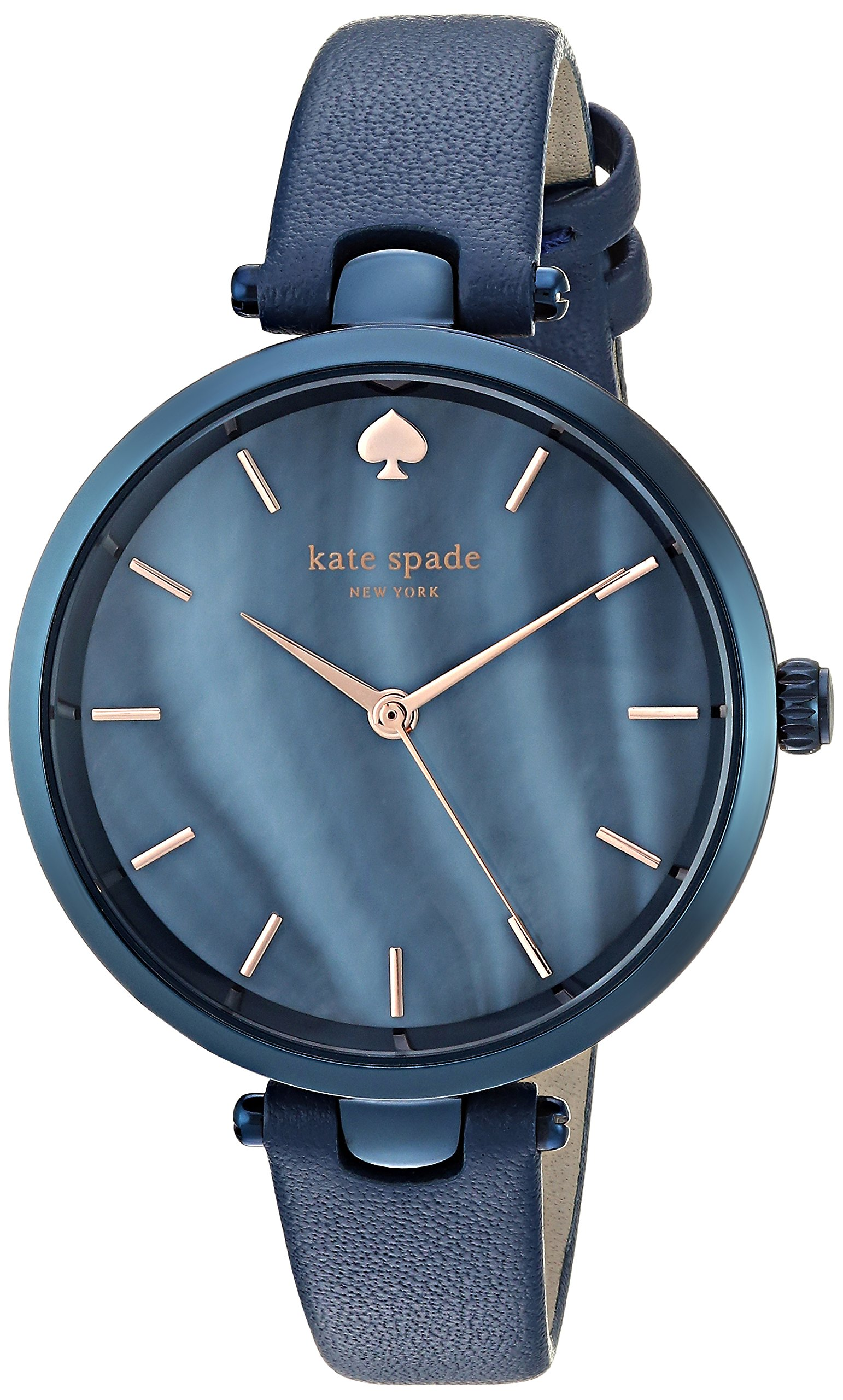 kate spade new york Women's 'Holland' Quartz Stainless Steel and Leather Casual Watch, Color:Blue (Model: KSW1389)