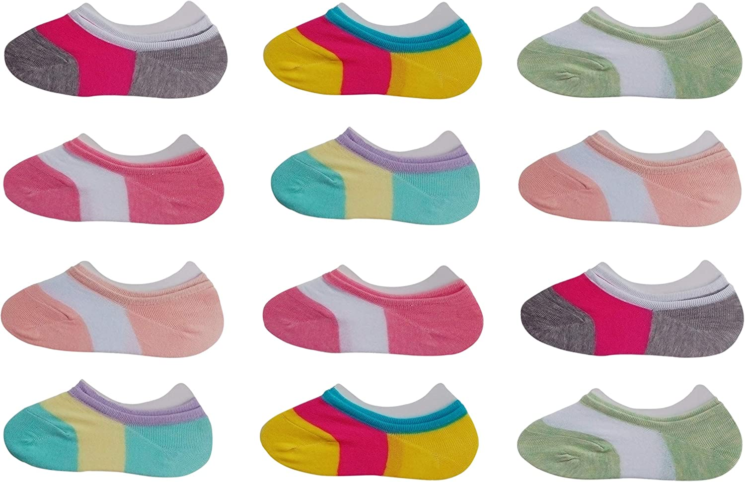 RATIVE Thin Flat Liner No Show Low Cut Cotton Socks For Kids Girls (12-pairs/assorted): Clothing