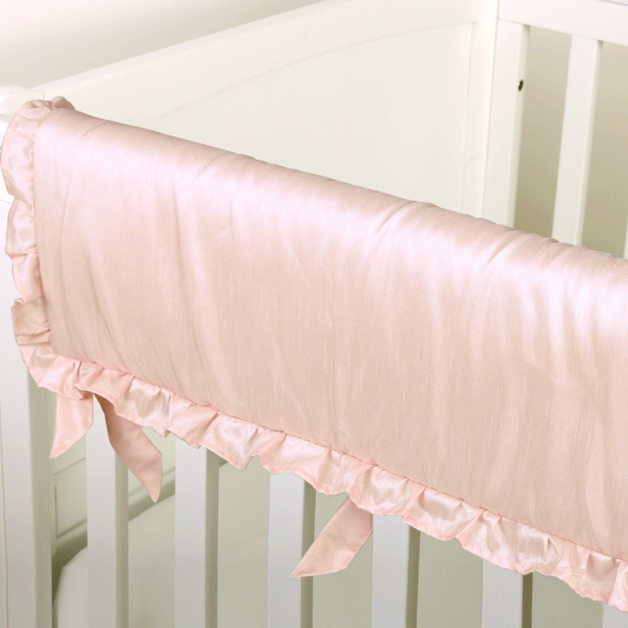 Arianna Pink Padded Crib Rail Guard by The Peanut Shell