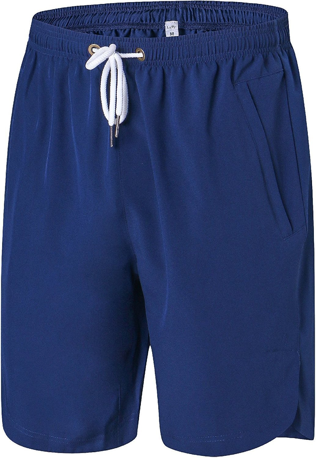 Luffy Mens Quick Dry Athletic Gym Shorts - Stretchable For Bodybuilding Running Workout Active Training Shorts (Navy, navy-XXXXL)