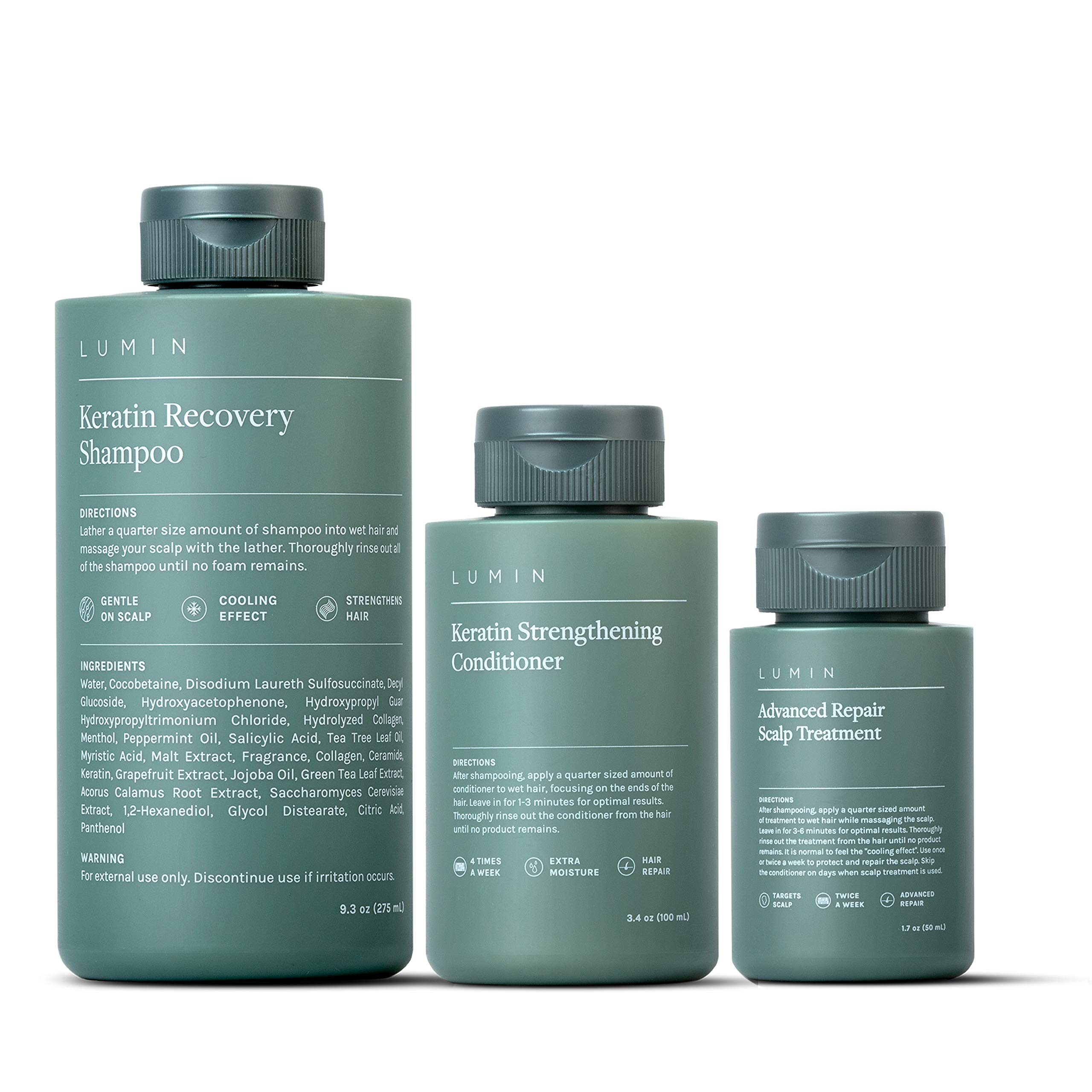 The Scalp Recovery Set for Men: Includes Includes Keratin Recovery Shampoo to Boost Hair Growth + Keratin Conditioner to Repair + Scalp Treatment to Improve Health of Hair - by Lumin