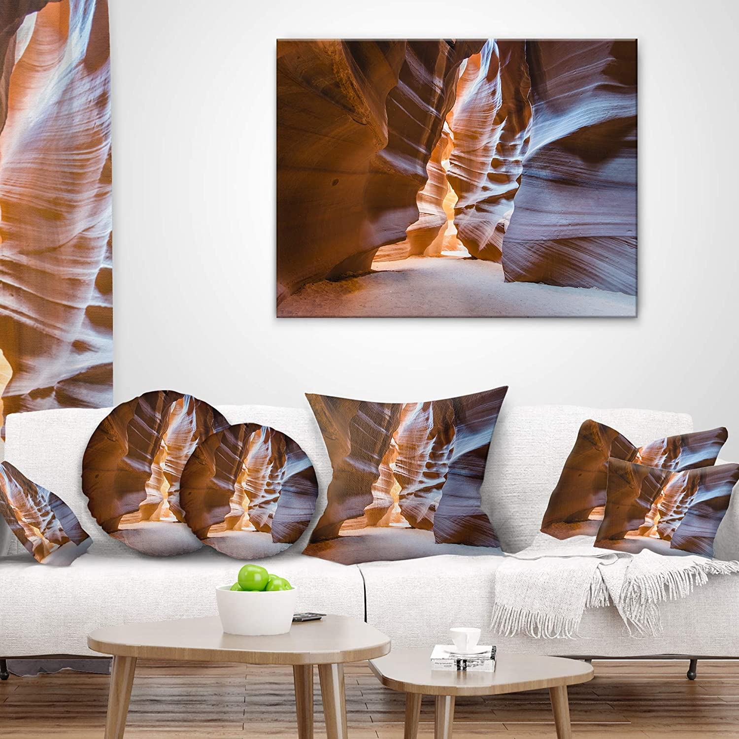 Designart CU8729-20-20-C Antelope Canyon Glow Inside Landscape Photography Round Cushion Cover for Living Room Sofa Throw Pillow 20 Insert Printed On Both Side