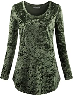 1c21f9eb54eed SeSe Code Women s Casual Long Sleeve Crew Neck Form Fitting Velvet Vintage  Tunic Top(FBA