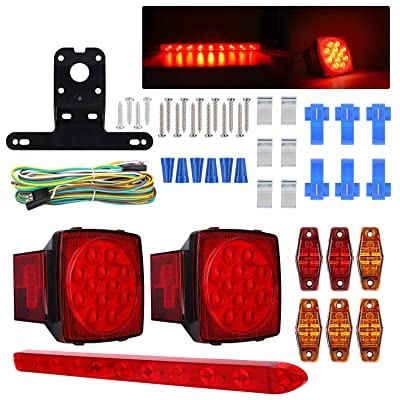 "Led Submersible Trailer Light Kit Boat Trailer Lights Trailer Wiring Kit Brake Stop Turn Tail Trailer Light Bar for Camper Truck RV Boat Snowmobile Under 80"" Inch: Automotive"