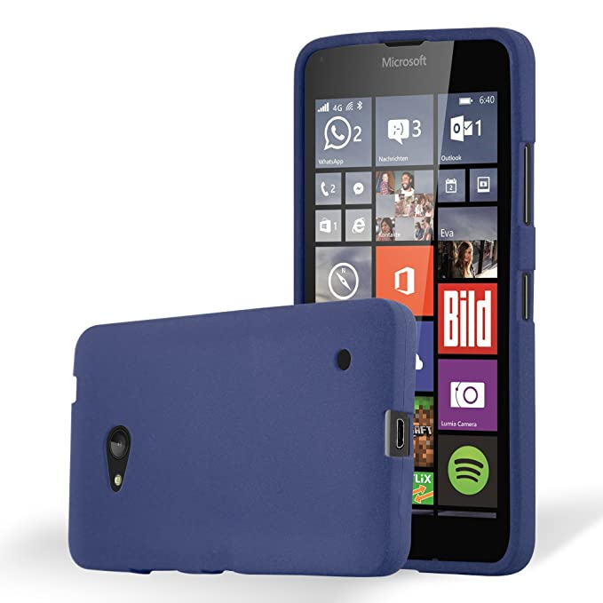 Amazon.com: Cadorabo Case Works with Nokia Lumia 640 in Frost Dark Blue – Shockproof and Scratch Resistant TPU Silicone Cover – Ultra Slim Protective Gel ...