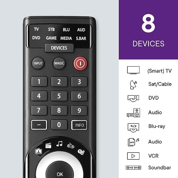 One For All URC7980 Smart Control 8 – Mando a Distancia Universal para 8 Dispositivos – 100% Compatible – App Gratuita para configuración – Negro: Amazon.es: Electrónica