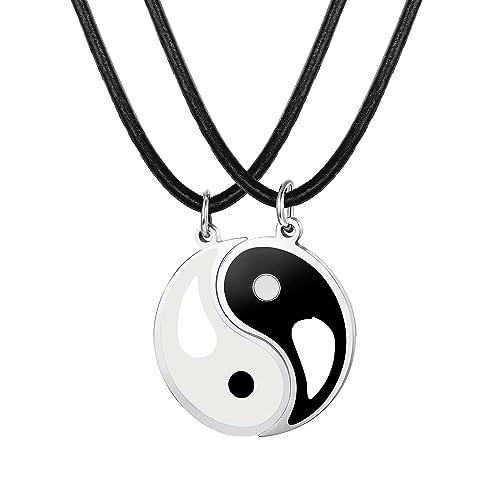 e53407426cf5 sailimue 2 Piezas Acero Inoxidable Collar Yin Yang Hombre Mujer Colgante  Collar Pareja Partido Collar