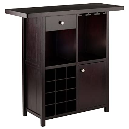 Amazon.com: Winsome Wood 92739 Macon Bar Wine Cabinet Espresso: Kitchen U0026  Dining
